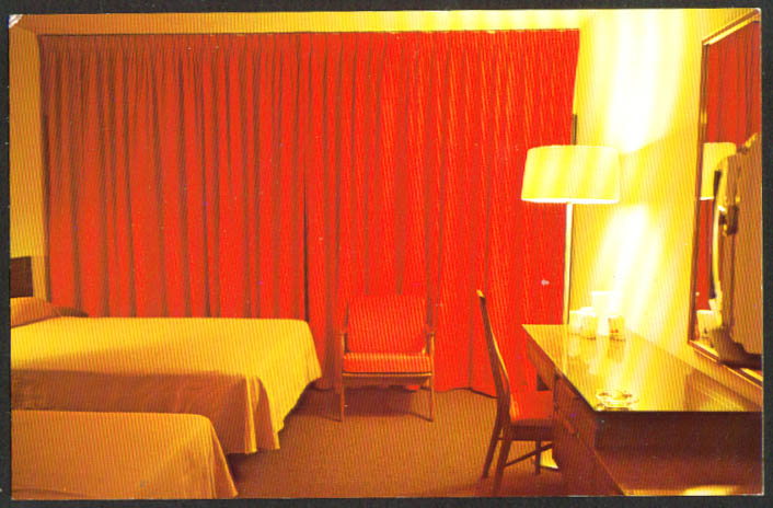 Guest Room Hawks Nest Lodge Ansted WV postcard 1960s