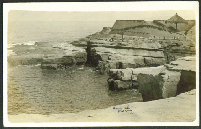 Sunset Cliffs at Point Loma CA RPPC postcard 1920s
