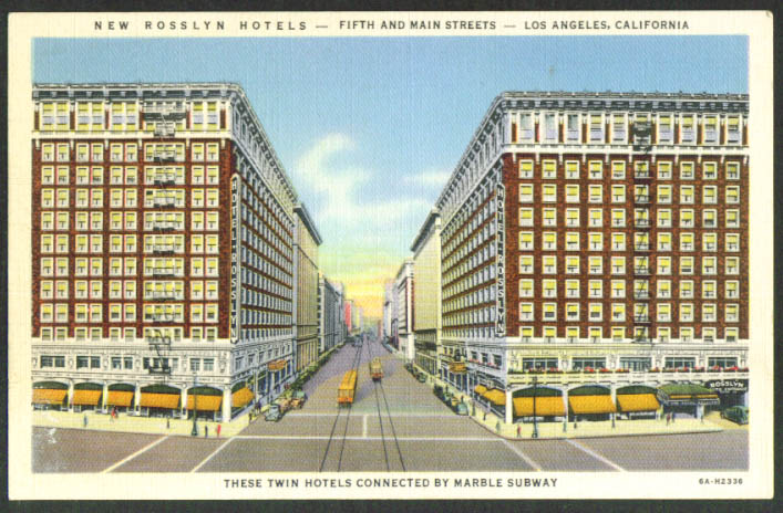 New Roslyn Hotels Los Angeles CA postcard 1930s