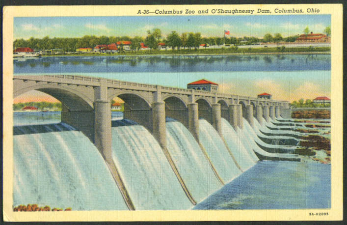 Columbus Zoo O'Shaughnessy Dam Columbus OH postcard 1940s