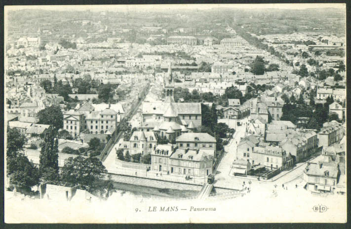 Panorama trolley cars Le Mans France postcard 1910s