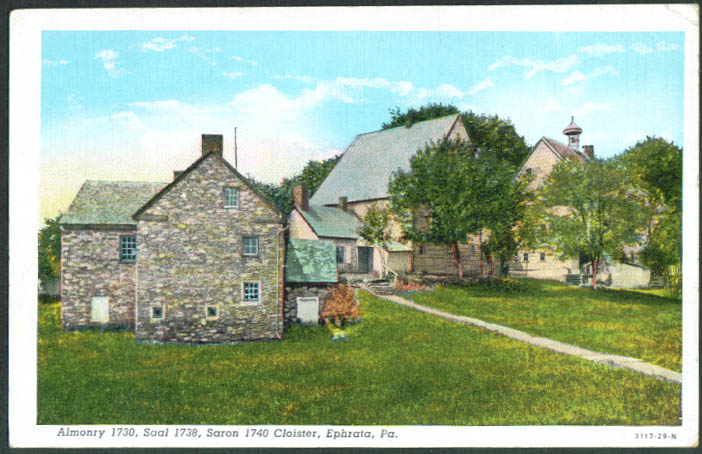 Almonry Saal Saron Cloister at Ephrata PA postcard 1930s