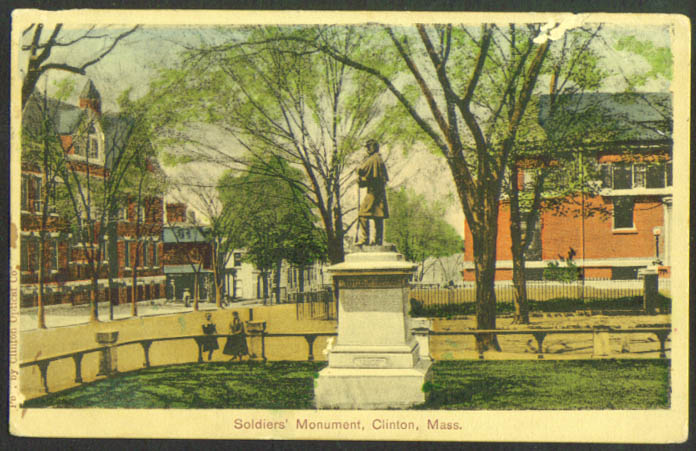 Soldiers' Momument Clinton MA postcard 1919