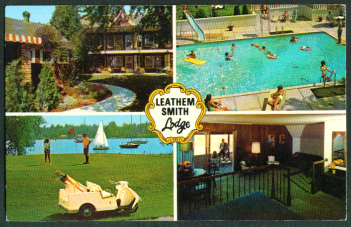 Leathem Smith Lodge Sturgeon Bay WI 4-view postcard 1960s