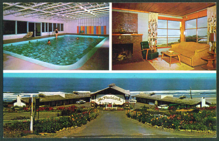 Pool Fireplace Paddock Motel Yachats OR postcard 1950s