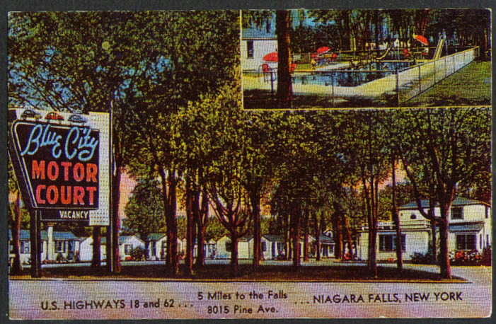 Blue City Motor Court Niagara Falls NY postcard 1950s