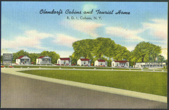 Olendorf's Cabins Tourist Home Cohoes NY postcard 1940s