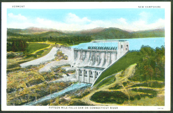 15-Mile Falls Dam CT River NH VT postcard 1930s