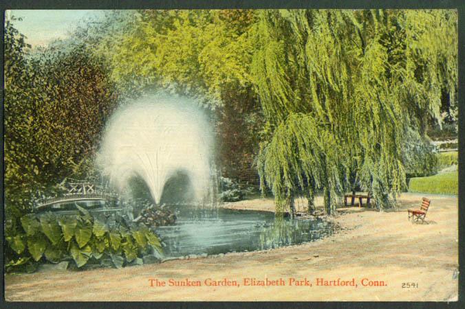 Sunken Garden Elizabeth Park Hartford CT postcard 1914