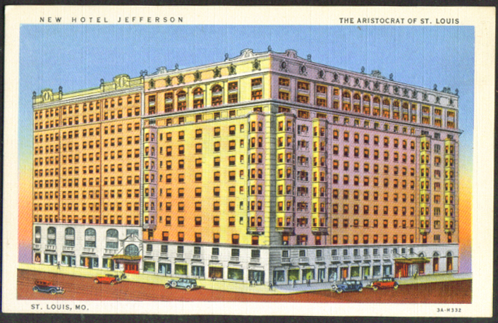 New Hotel Jefferson St Louis MO postcard 1940s