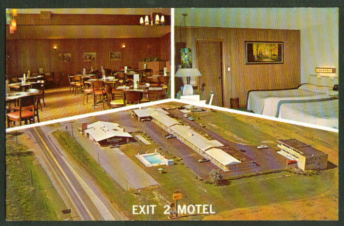 Exit 2 Motel Montpelier OH Turnpike 3-view postcard 1960s