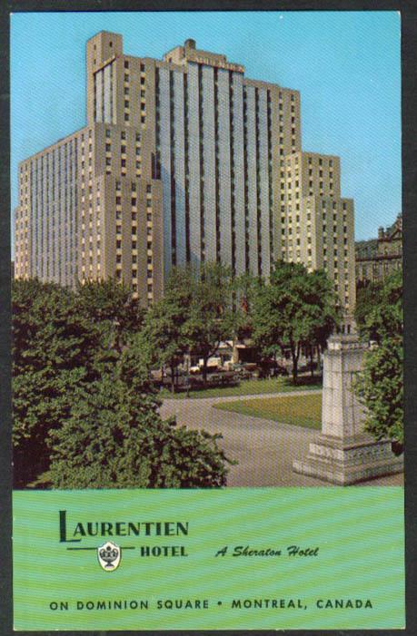 Laurentien Hotel Dominion Square Montreal PQ postcard 1950s