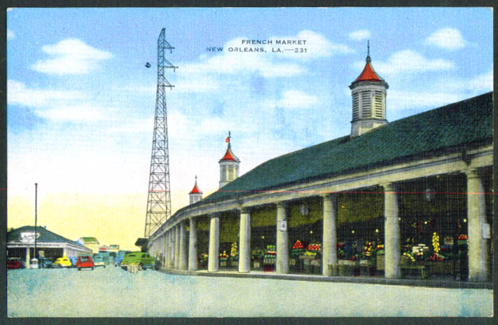 French Market New Orleans LA postcard 1930s