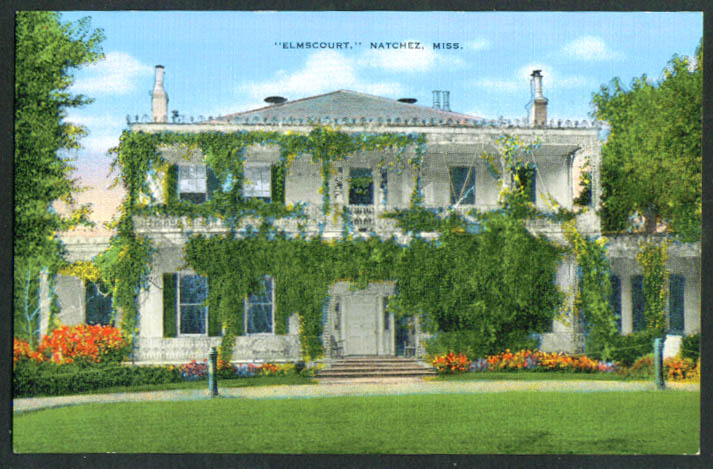 Elmscourt mansion Natchez MS postcard 1930s