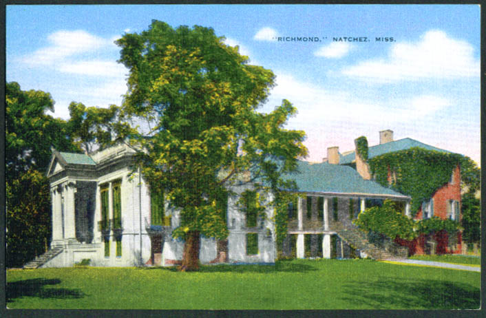 Richmond mansion Natchez MS postcard 1930s