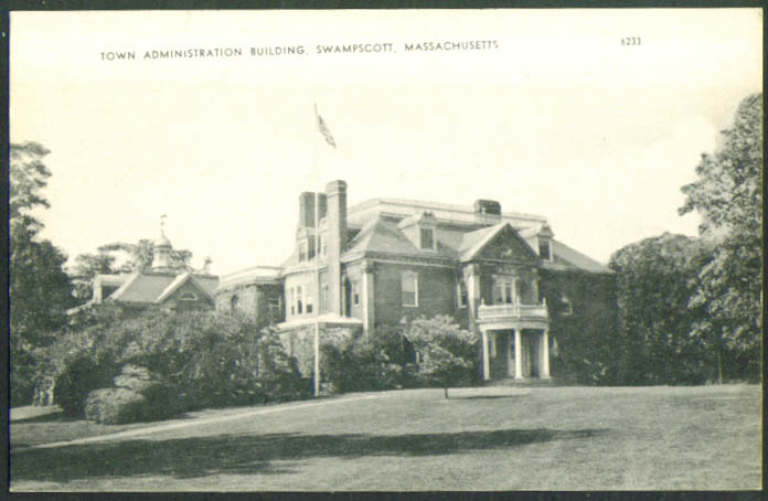 Town Administration Building Swampscott MA postcard 1950s