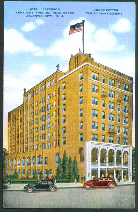 Hotel Jefferson Atlantic City NJ postcard 1930s