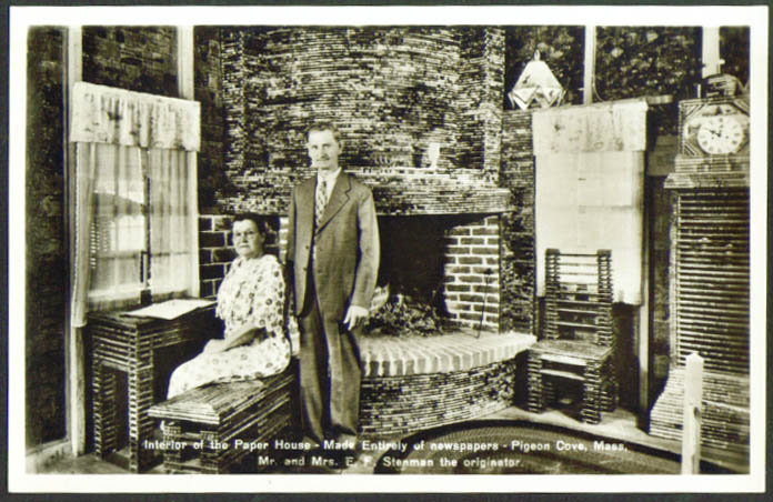 Inside Stenman's Paper House Pigeon Cove MA RPPC postcard 1940s