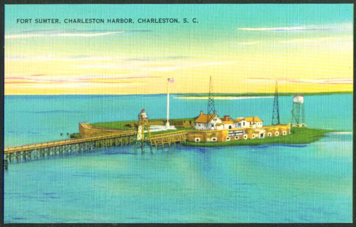 Fort Sumter Charleston Harbor SC postcard 1940s
