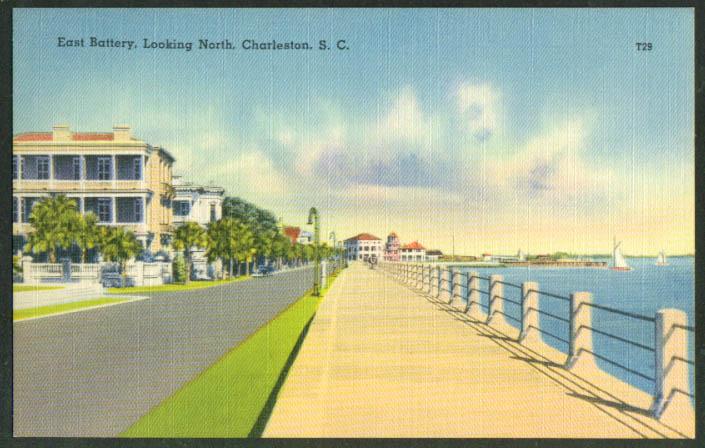 East Battery looking North: Charleston SC postcard 1940s