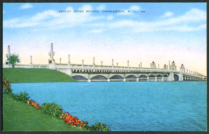 Ashley River Bridge Charleston SC postcard 1940s