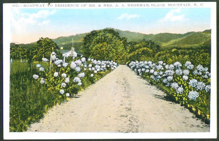 Road to Hegeman House Black Mountain NC postcard 1910s
