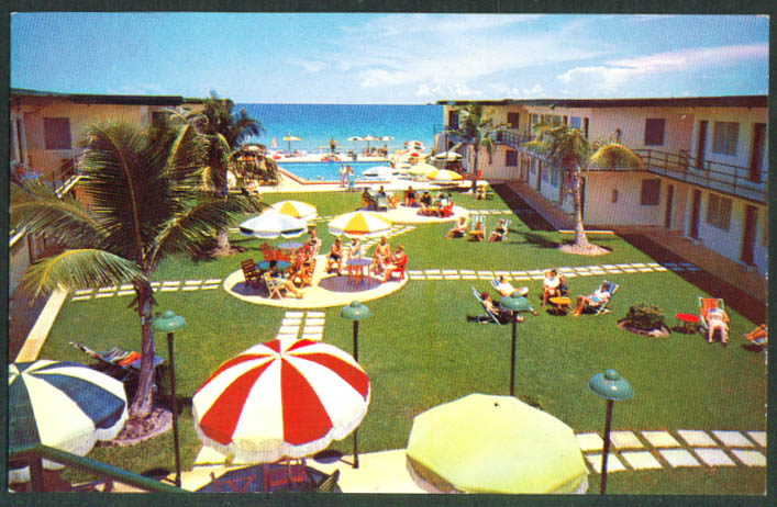 Sea Breeze Motel 16151 Collins Ave Miami Beach FL postcard 1950s