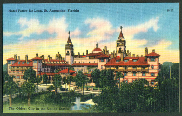 Hotel Ponce de Leon St Augustine FL postcard 1940s
