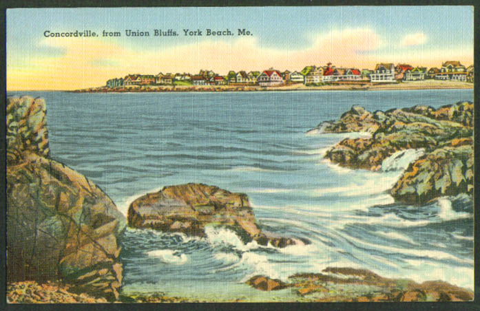 Concordville from Union Bluffs York Beach ME postcard 1940s