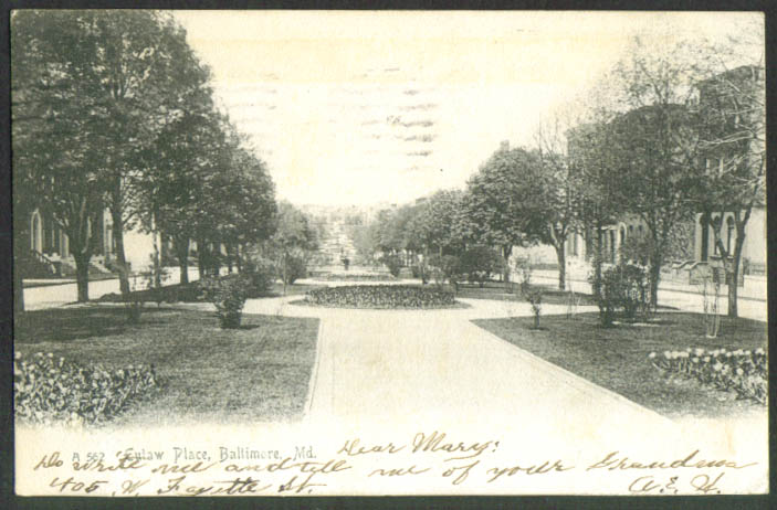 Eutaw Place at Baltimore MD undivided back postcard 1906