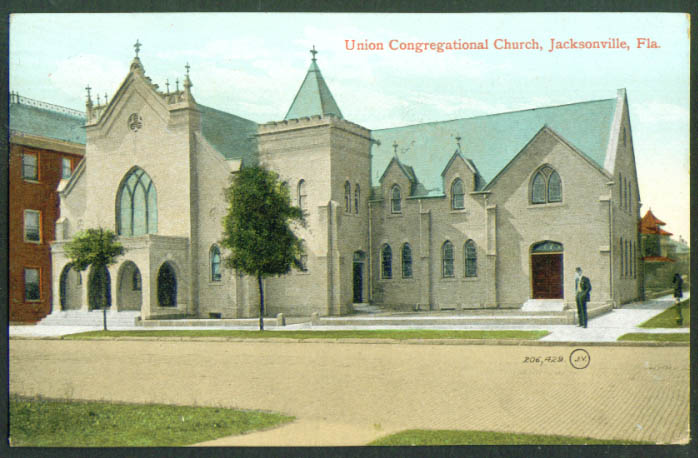 Union Congregational Jacksonville FL postcard 1911