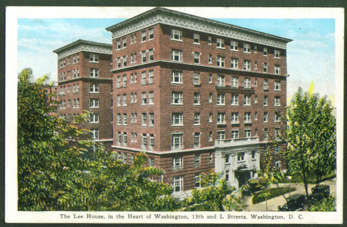 Lee House 15th & L Street Washington DC postcard 1920s