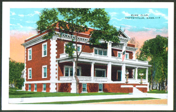 The Elks' Club at Coffeyville KS postcard 1920s