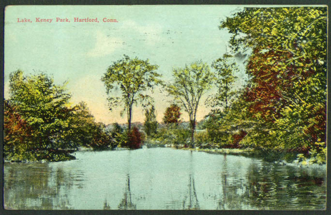 Lake in Keney Park Hartford CT postcard  1916