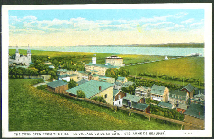 Ste Anne de Beaupre from the Hill Quebec postcard 1910s