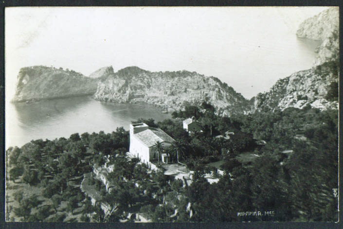 View from above Miramar Mallorca Spain RPPC postcard 1910s Majorca