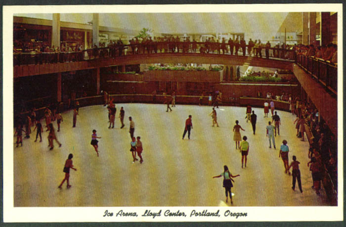 Ice Arena Lloyd Center Portland OR postcard 1950s