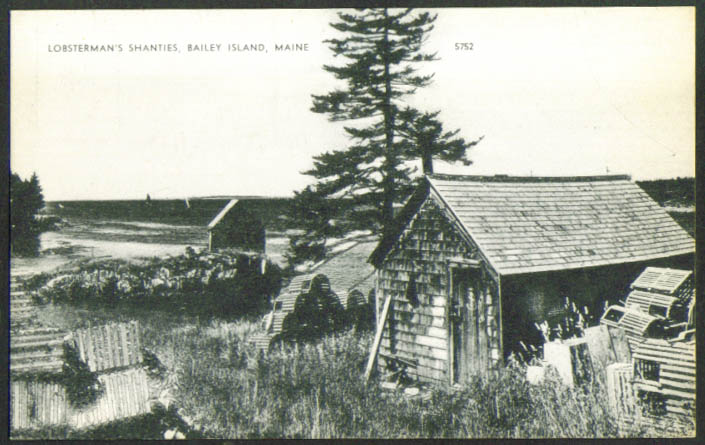 Lobsterman's Shanties Bailey Island ME postcard 1940s
