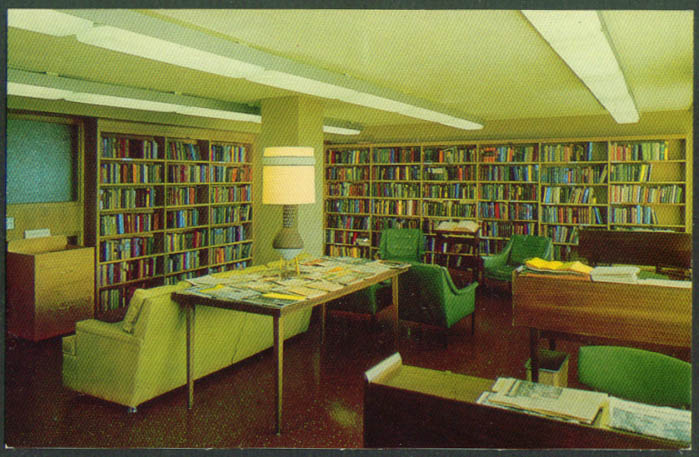 Library Rogue Valley Manor Medford OR postcard 1950s
