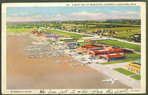 Municipal Airport Cleveland OH postcard 1938