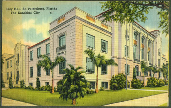 City Hall St Petersburg FL postcard 1941