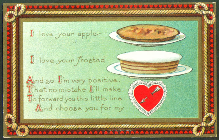 Apple pie frosted cake Valentine postcard 1910s