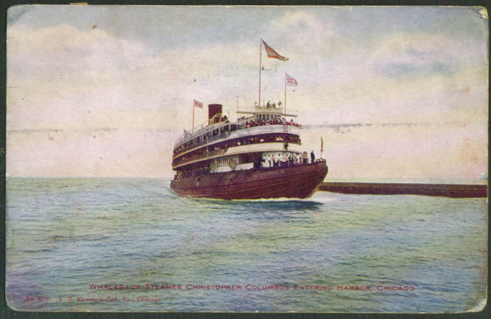 Whaleback Steamer Christopher Columbus postcard 1909