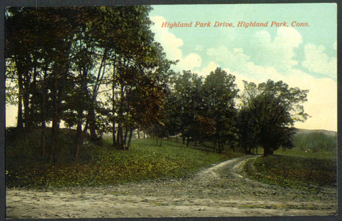 Highland Park Drive Highland Park CT undivided back postcard 1900s