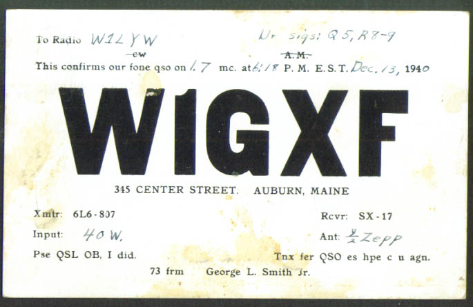 W1GXF Auburn ME QSL Ham Radio postcard 1940