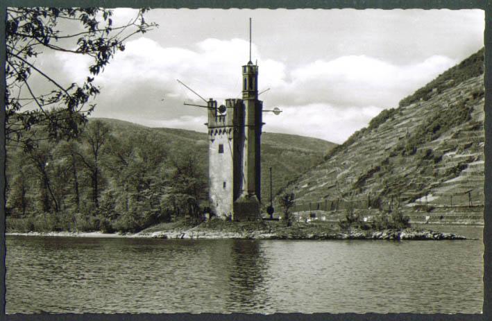 Mauseturm Mouse Tower Bingen Germany RPPC postcard 1930s
