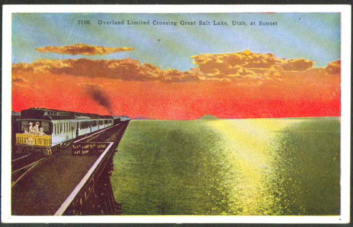 Overland Limited on Great Salt lake UT postcard 1910s