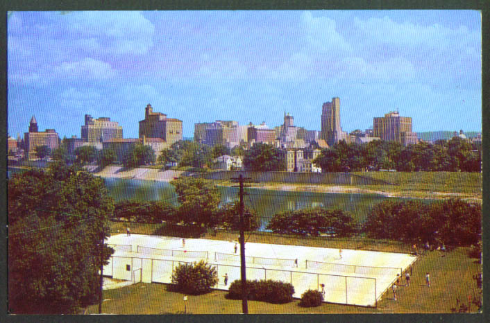 Riverview Park Tennis Courts Dayton OH postcard 1950s