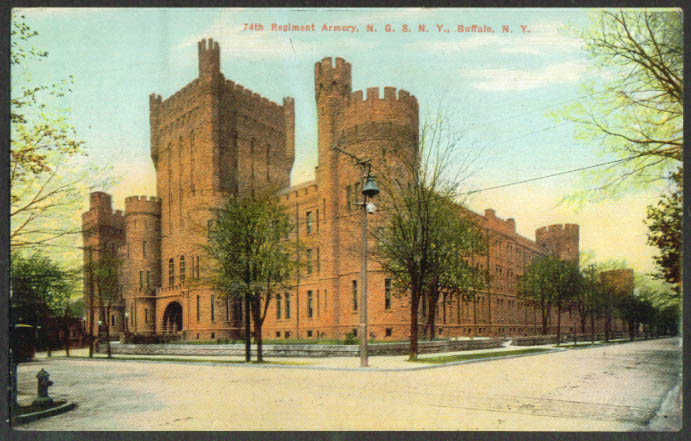 74th Regiment Armory NGSNY Buffalo NY postcard 1910