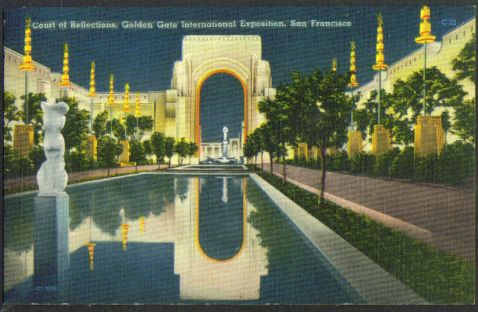 Court Reflections Golden Gate Expo San Francisco CA postcard 1939
